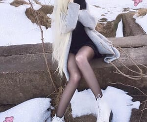 blonde hair, girls, and snow image