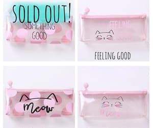 pink, pink pencil case, and stationery cat image