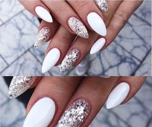 nails, white, and classy image
