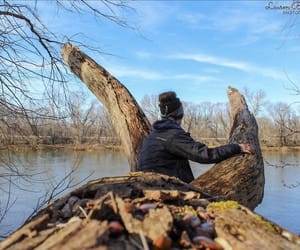 photography, river, and sitting image