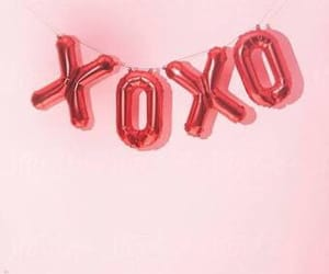 pink, xoxo, and balloons image