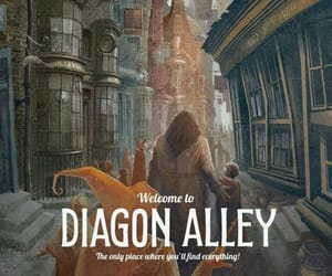 harry potter, diagon alley, and hagrid image