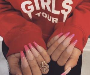 long nails, nail art, and red image
