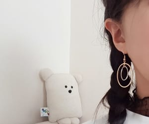 white, aesthetic, and earrings image