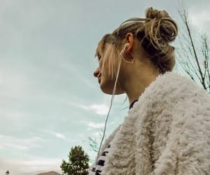 beautiful, clouds, and earphone image