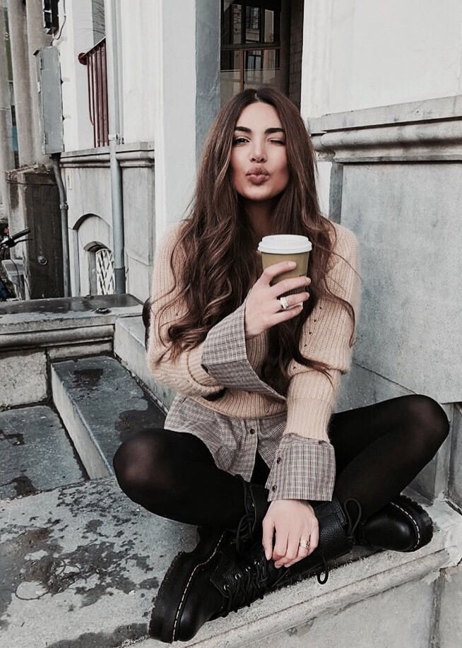 brunette, tights, and coffee image