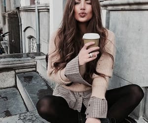 brunette, coffee, and street image