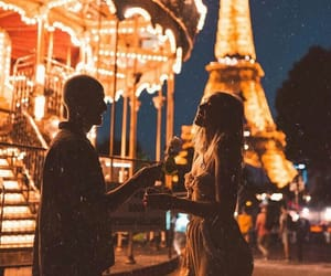 couple, lights, and paris image