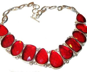 etsy, boho necklace, and red glass necklace image