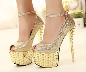 golden, heels, and high heels image