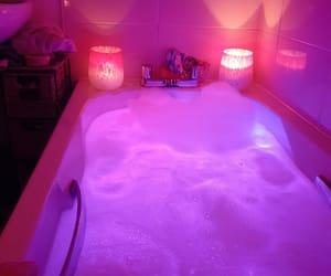 bath, foam, and pink image