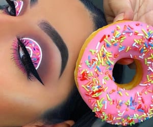 makeup, donuts, and girl image