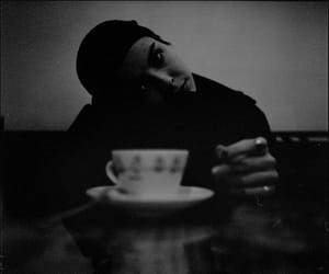 black and white, coffee, and photography image