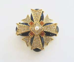 etsy, chanel style, and maltese cross brooch image
