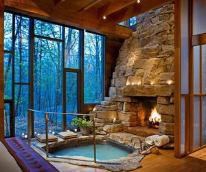 fireplace, house, and pool image