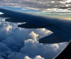 airplane, blue, and traveling image