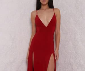 backless prom dress, v neck prom dress, and prom dress red image