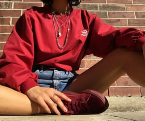 chains, jean shorts, and jumper image