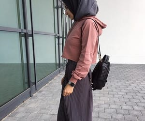 grey, hijab, and gris image