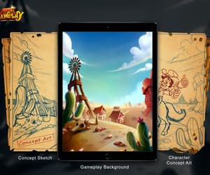 character concept art, 2d concept sketch, and gameplay background image