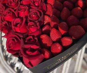 strawberry, flowers, and rose image