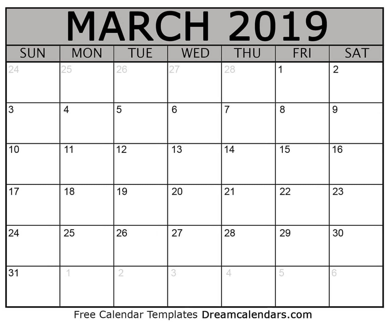 Printable Blank March February 2019 Calendar On We Heart It