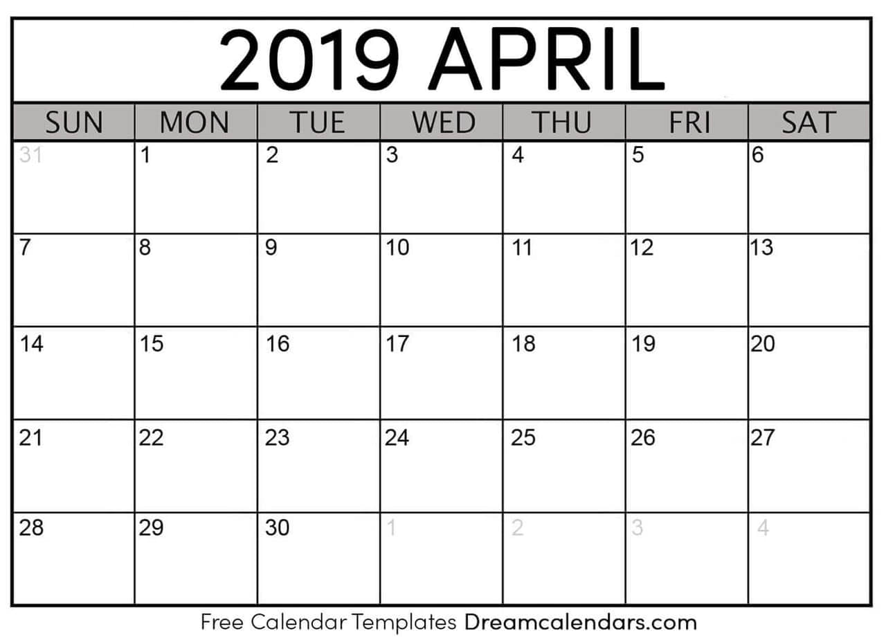 2019 April Calendar Printable Blank April 2019 Calendar on We Heart It