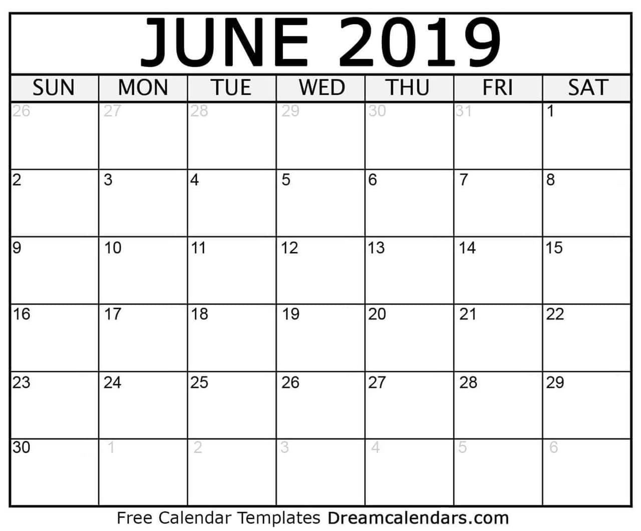 photo regarding Free Printable June Calendar named Printable Blank June 2019 Calendar upon We Center It