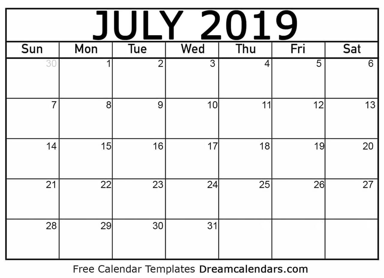 graphic regarding Printable July Calendar called Printable Blank July 2019 Calendar upon We Centre It