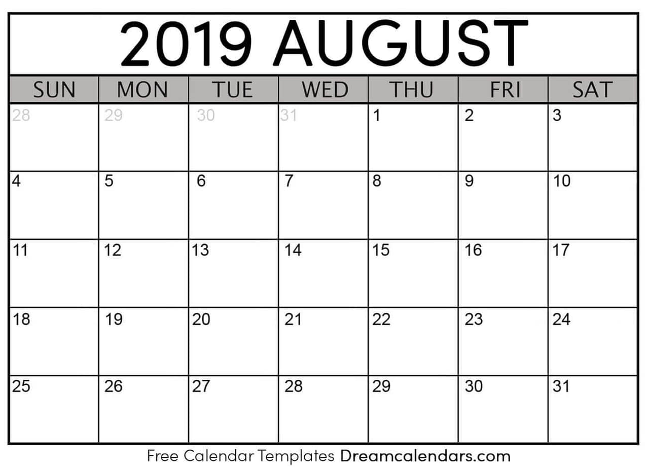 graphic regarding Printable Aug Calendar called Printable Blank August 2019 Calendar upon We Center It