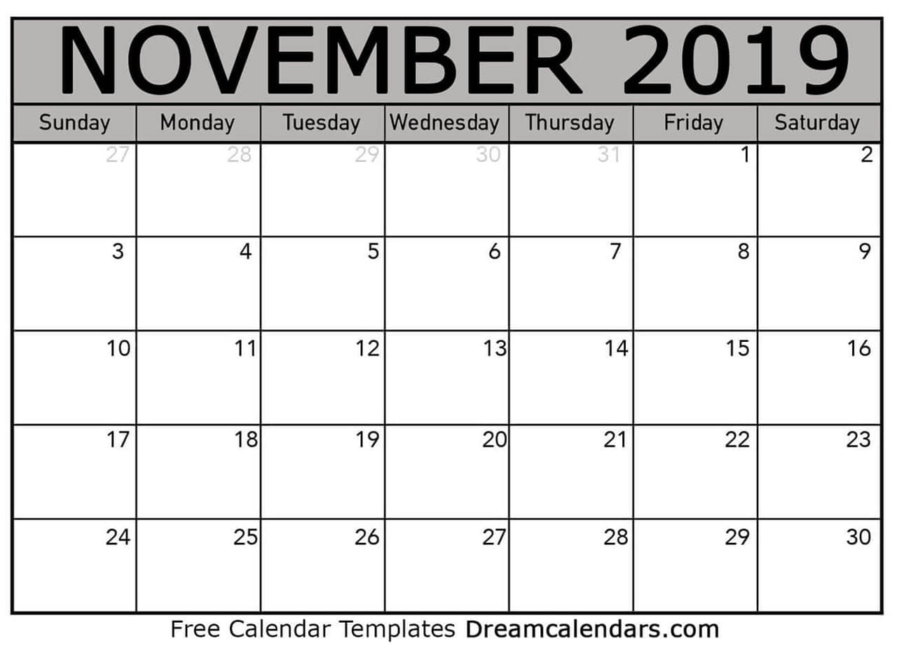 photograph relating to Blank November Calendar Printable known as Printable Blank November 2019 Calendar upon We Middle It