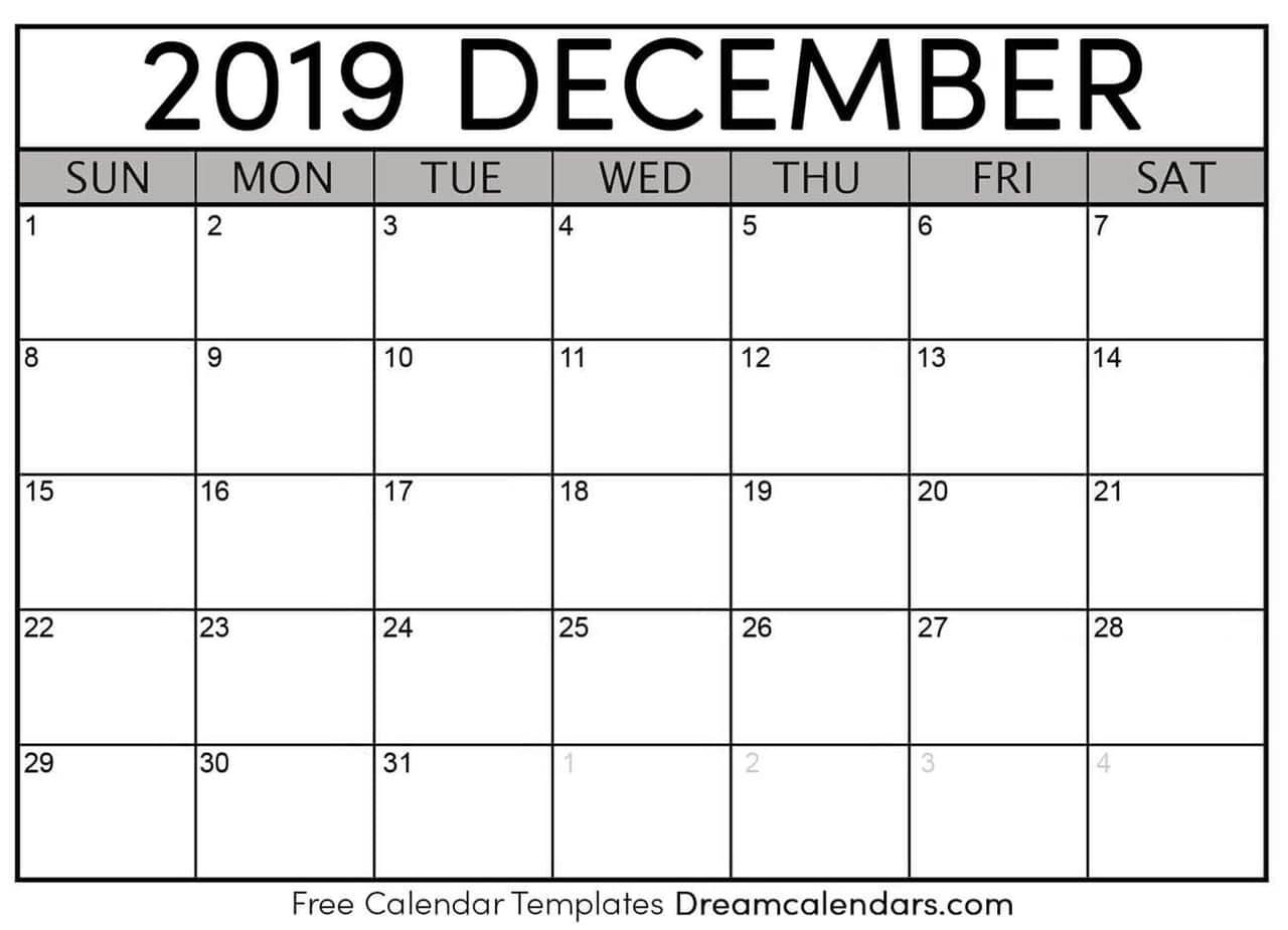 graphic about Printable December Calendar referred to as Printable Blank December 2019 Calendar upon We Centre It