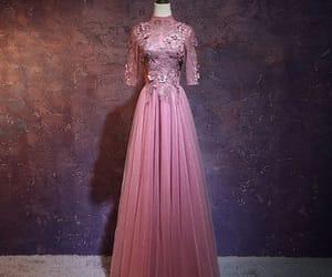 evening dress, vintage dress, and candy pink dress image