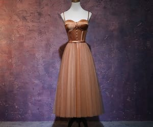 brown dress, prom dress, and tulle image