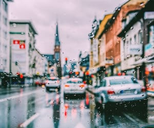 city, rain, and cars image