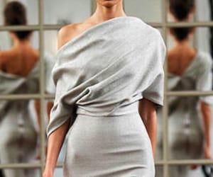 dress, gray dress, and modest image