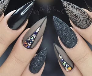 black nails, glitters, and nails image