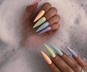 nails, rainbow, and acrylic image