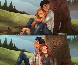 ginny weasley, harry potter, and relaxing image