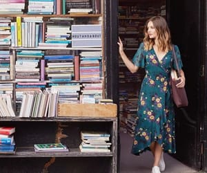 casual, girl, and library image