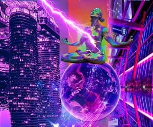 collage art, earth, and light neon image