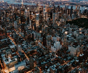 city, lights, and new york city image