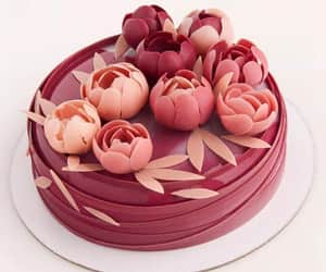 cake, flores, and flowers image