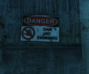 dam, sign, and run-down image