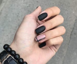 black, nails, and pink image