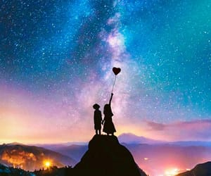 love, stars, and sky image