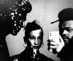 bella hadid, the weeknd, and black and white image