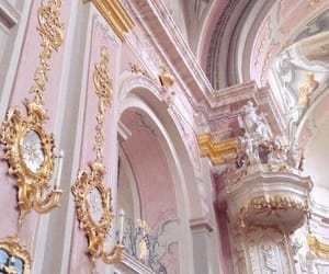 arch, architecture, and pink image