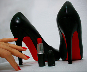 red, shoes, and lipstick image