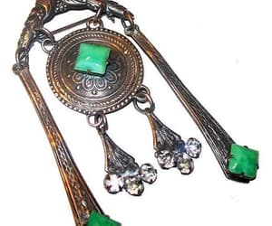 etsy, antique brooch, and green stone pin image